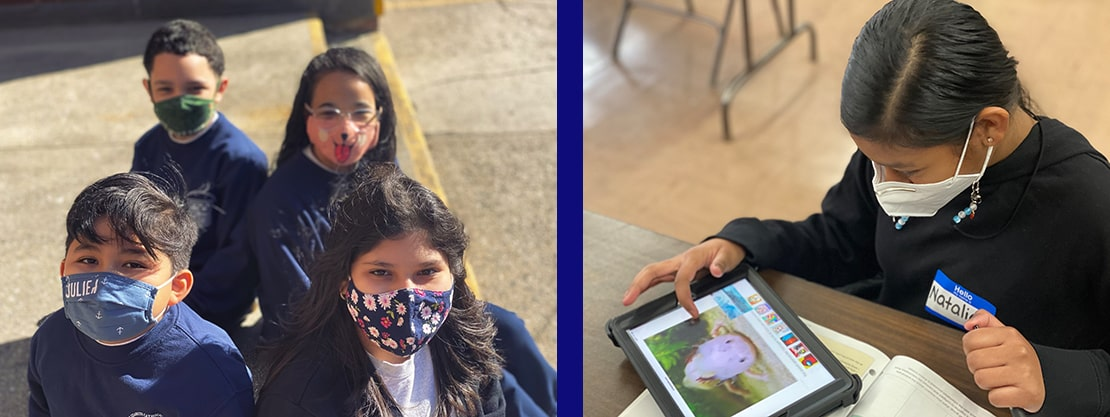 students in masks inside and outside